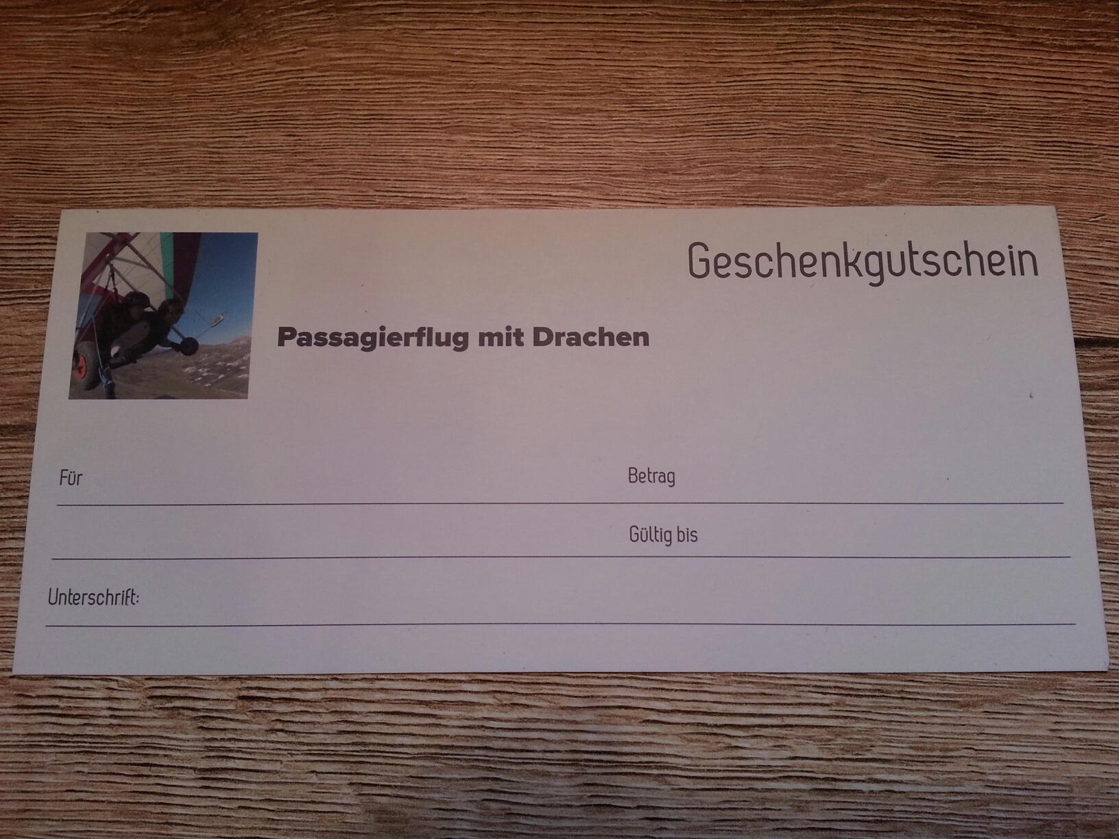 Passagierflug Geschenk Guteschein